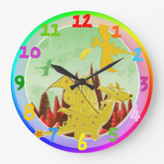 Cute Cartoon Dragon Rainbow Colors Large Clock