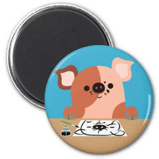 Cute Cartoon Drawing Piglet Magnet