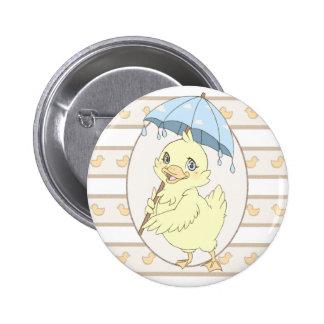 Cute cartoon duckling with umbrella 6 cm round badge