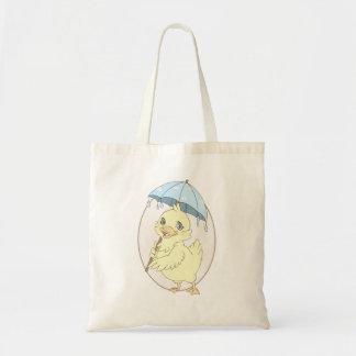 Cute cartoon duckling with umbrella budget tote bag