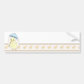 Cute cartoon duckling with umbrella bumper sticker