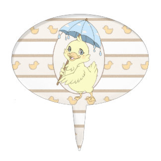 Cute cartoon duckling with umbrella cake toppers
