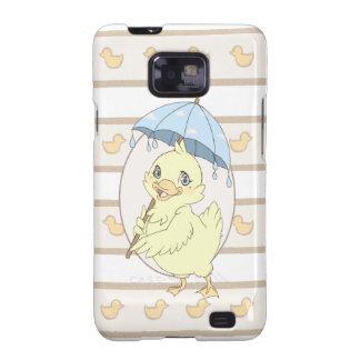 Cute cartoon duckling with umbrella galaxy s2 cover