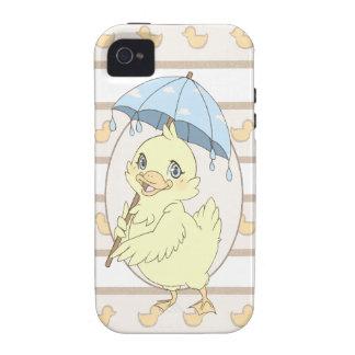 Cute cartoon duckling with umbrella vibe iPhone 4 case