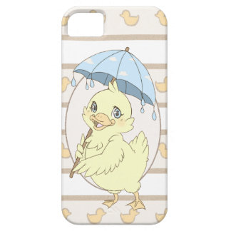 Cute cartoon duckling with umbrella case for the iPhone 5