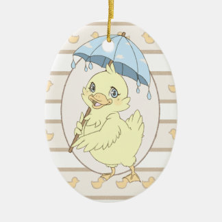 Cute cartoon duckling with umbrella ceramic oval decoration