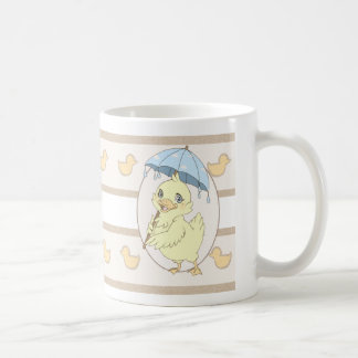 Cute cartoon duckling with umbrella coffee mug