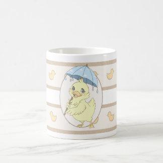 Cute cartoon duckling with umbrella coffee mugs