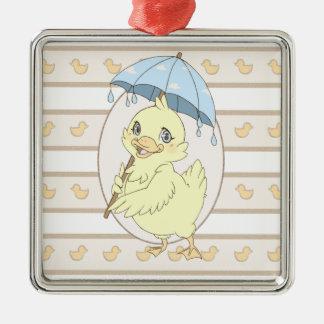 Cute cartoon duckling with umbrella square metal christmas ornament