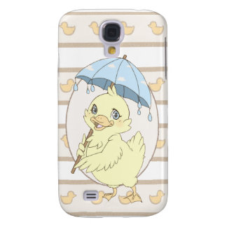 Cute cartoon duckling with umbrella galaxy s4 case