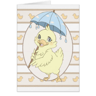 Cute cartoon duckling with umbrella greeting card