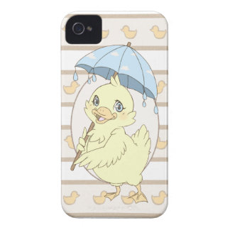 Cute cartoon duckling with umbrella iPhone 4 covers