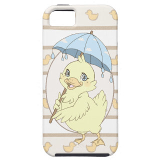 Cute cartoon duckling with umbrella iPhone 5 cover