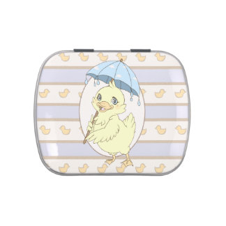 Cute cartoon duckling with umbrella jelly belly candy tin