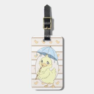 Cute cartoon duckling with umbrella travel bag tags