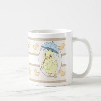 Cute cartoon duckling with umbrella classic white coffee mug