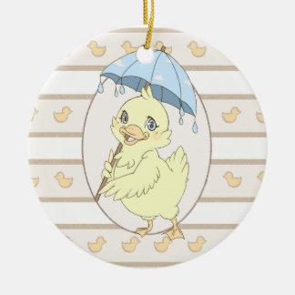 Cute cartoon duckling with umbrella ornament