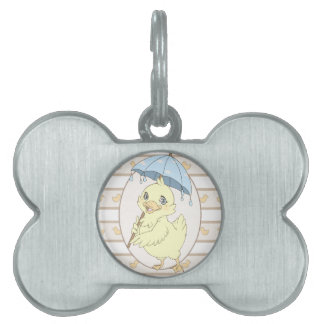 Cute cartoon duckling with umbrella pet tags
