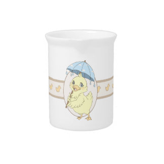 Cute cartoon duckling with umbrella pitcher