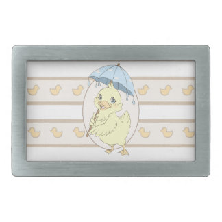 Cute cartoon duckling with umbrella rectangular belt buckle