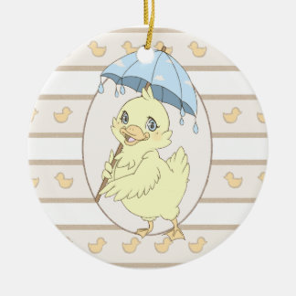 Cute cartoon duckling with umbrella round ceramic decoration