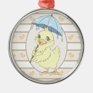 Cute cartoon duckling with umbrella Silver-Colored round decoration