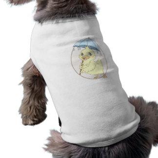 Cute cartoon duckling with umbrella sleeveless dog shirt