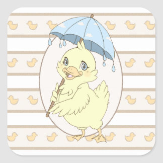 Cute cartoon duckling with umbrella square sticker