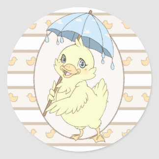 Cute cartoon duckling with umbrella classic round sticker
