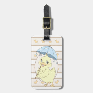 Cute cartoon duckling with umbrella travel bag tags