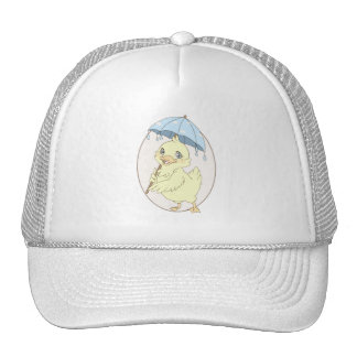Cute cartoon duckling with umbrella trucker hat