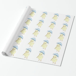 Cute cartoon duckling with umbrella gift wrapping paper