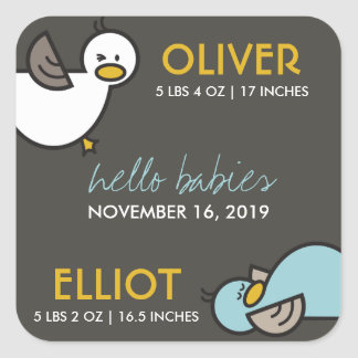 Cute Cartoon Ducks Twins Boys New Baby Gift Tags Stickers