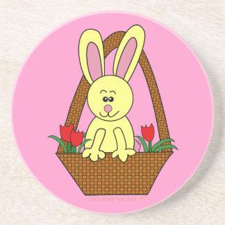 Cute Cartoon Easter Bunny in a Basket Coaster