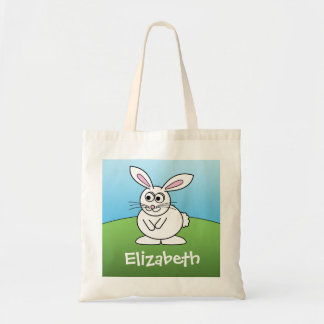 Cute Cartoon Easter Bunny with Custom Name Budget Tote Bag