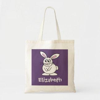 Cute Cartoon Easter Bunny with Custom Name Budget Tote Bag