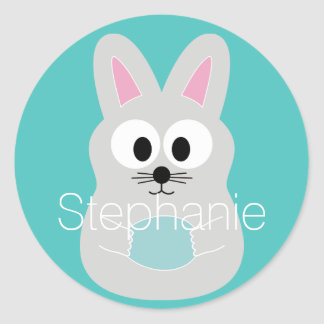 Cute Cartoon Easter Bunny with Custom Name Classic Round Sticker