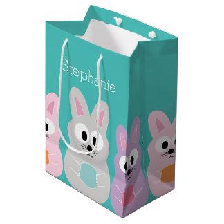 Cute Cartoon Easter Bunny with Custom Name Medium Gift Bag
