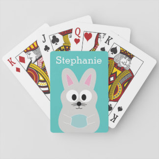 Cute Cartoon Easter Bunny with Custom Name Playing Cards