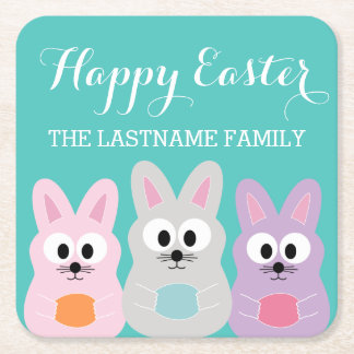 Cute Cartoon Easter Bunny with Custom Name Square Paper Coaster