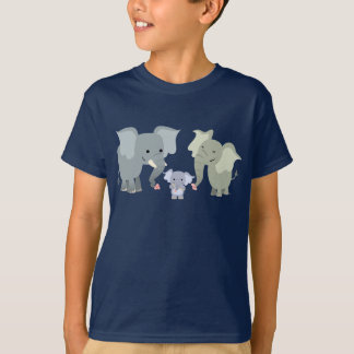 Cute Cartoon Elephant Family Kids T-Shirt