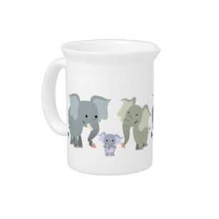 Cute Cartoon Elephant Family Pitcher