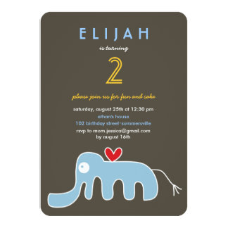 Cute Cartoon Elephant Kids Birthday Photo Invite
