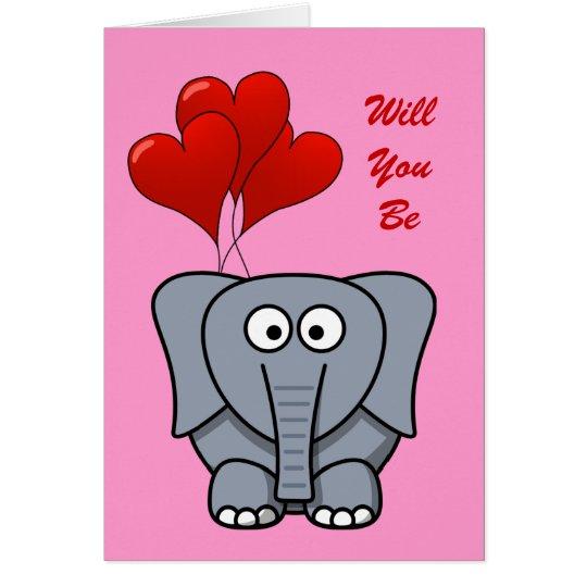Cute Cartoon Elephant Red Heart Balloons Valentine Card
