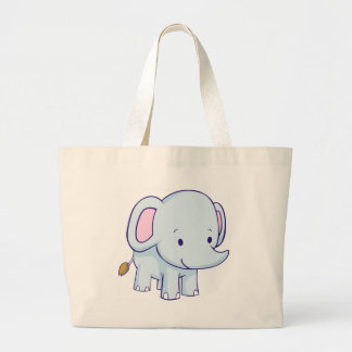 Cute Cartoon Elephant Shirts Large Tote Bag