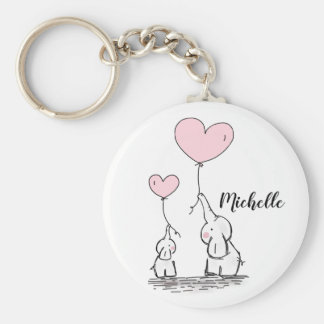Cute cartoon elephants holding pink balloons name key ring
