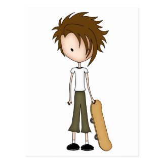 Cute Cartoon Emo Boy Skateboarder Post Card
