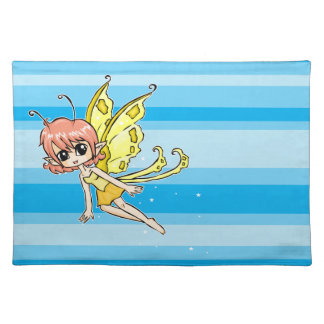 Cute cartoon fairy with yellow wings placemat