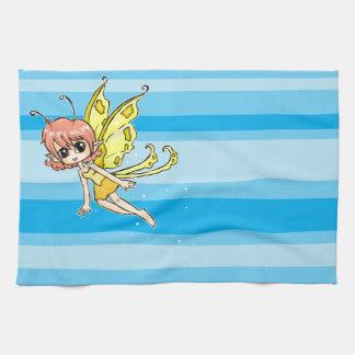 Cute cartoon fairy with yellow wings tea towel