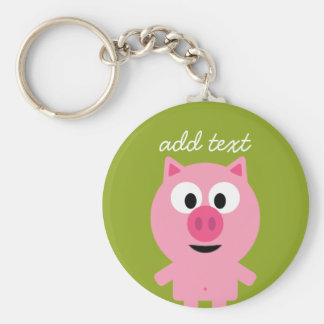 Cute Cartoon Farm Pig - Pink and Lime Green Basic Round Button Key Ring